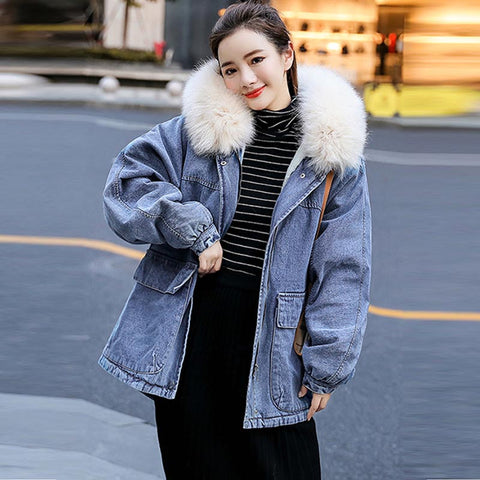 Fur collar denim parka coats