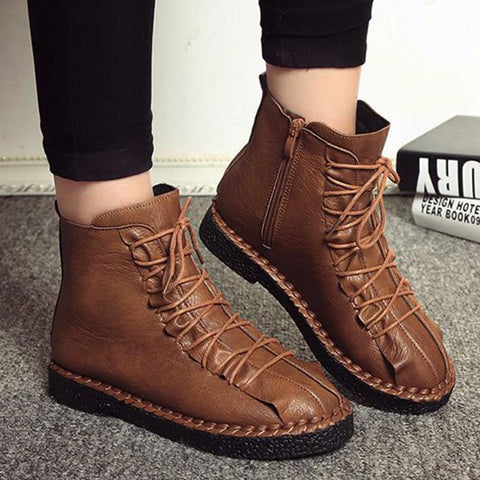 Vintage solid PU leather winer boots