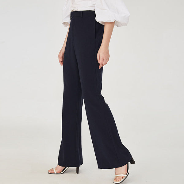 Pure color slim flare pants - Fancyever
