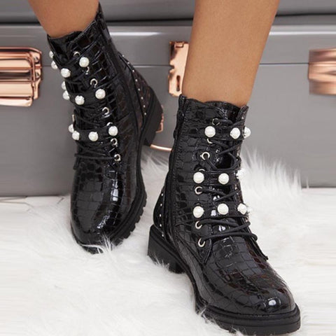 Beaded solid pin-buckle lace-up zip ankle boots