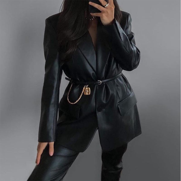 PU leather solid blazer leather jackets