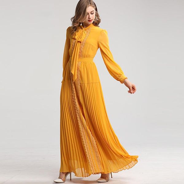 Patchwork tie-collar pleated maxi dresses
