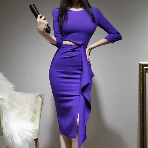 Solid openwork asymmetric pencil dresses
