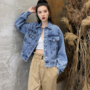 Lapel single-breasted denim jackets - Fancyever