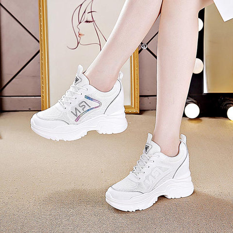 Lace-up sequin mesh sneakers
