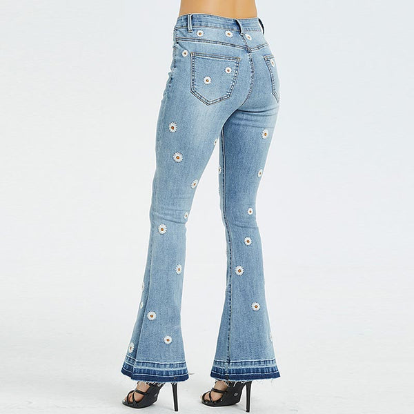 Denim embroidered slim flare pants
