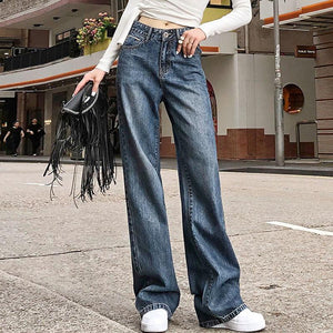 Retro floor length wide leg jean pants