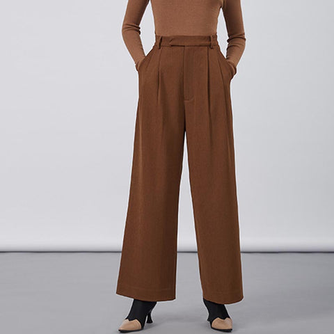 Camel high waisted wide leg pants - Fancyever