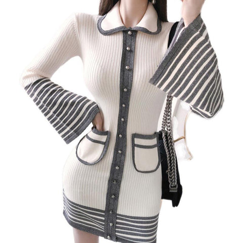 Flare sleeve striped knitted mini dresses