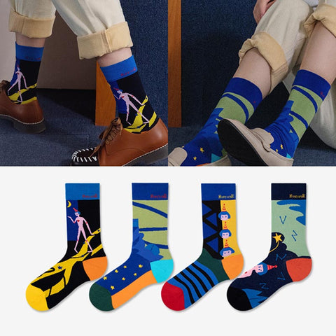 5 pairs color block ankle socks
