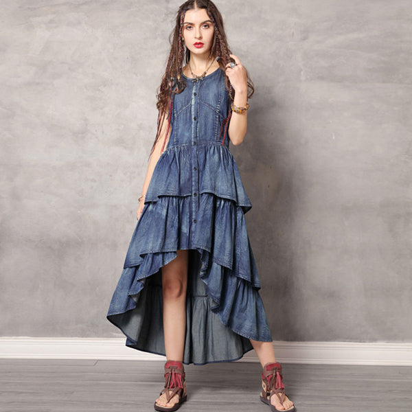 Retro sleeveless big hem falbala dresses - Fancyever