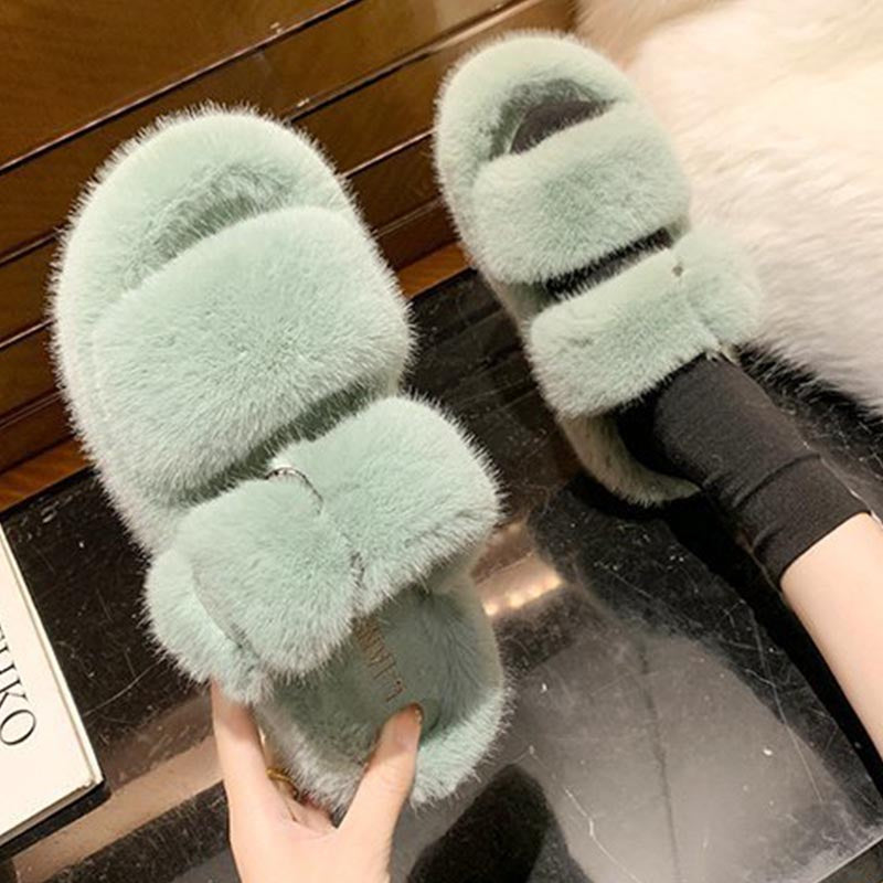Open toe solid fur slippers