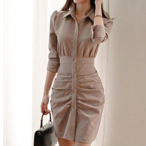 Office turn down collar solid smocked shift dresses