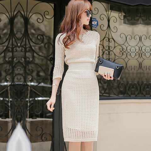 Openwork empire waist sweater dresses