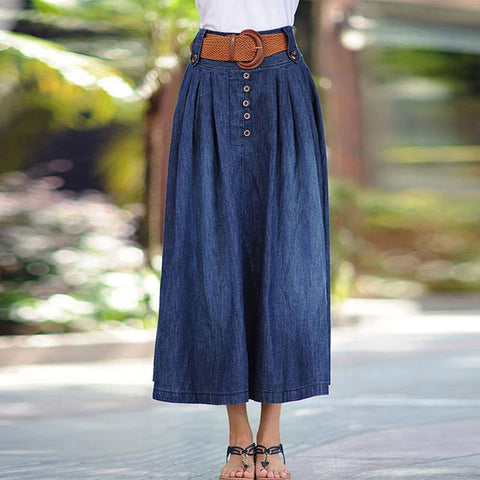 Denim belted buttoned a-line skirts