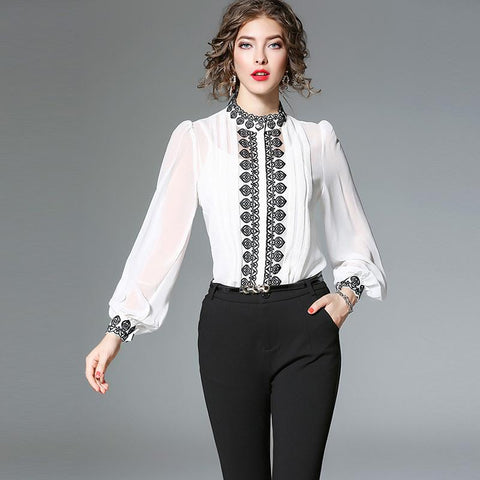 Mock neck embroidered blouses with camisole
