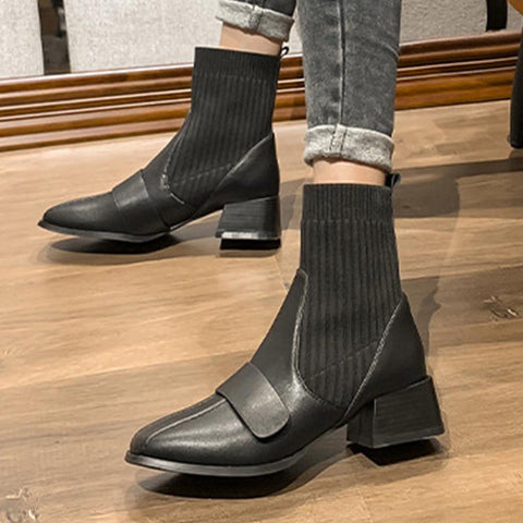Solid square leather chic ankle boots
