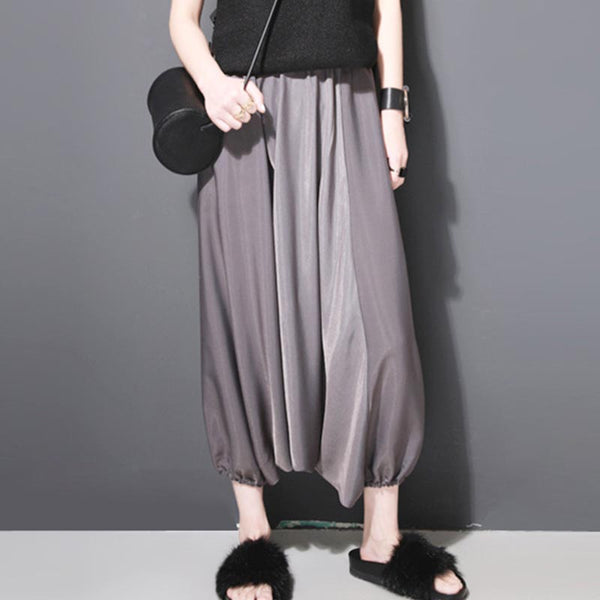Draped soft wide leg cropped pants