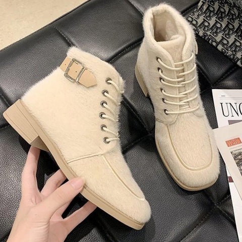 Fur solid lace-up stylish winter ankle boots