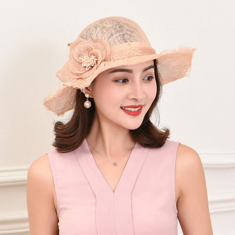 Flower mesh flat wide brim hats