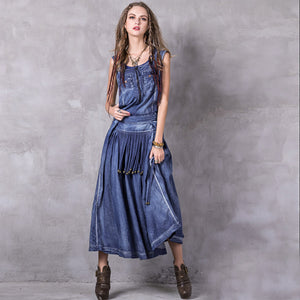 Denim gathered waist tassel dresses - Fancyever