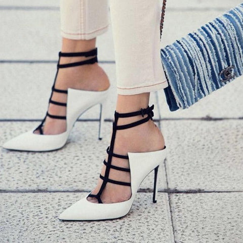 Pointed toe ankle-strap heels