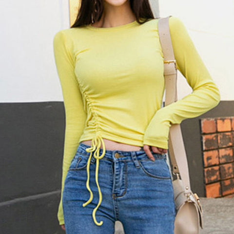 Lemon long sleeve drawcord crop tops
