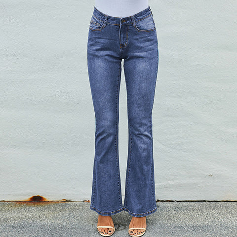 High waisted stretchy flare jean pants