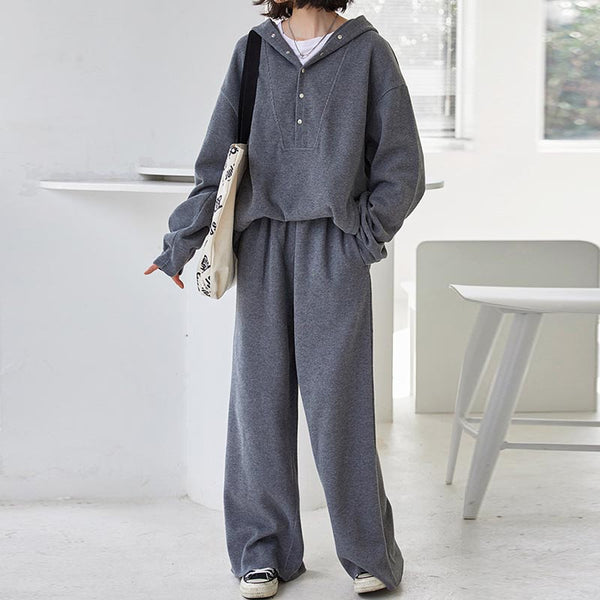 Solid loose hooded pant suits