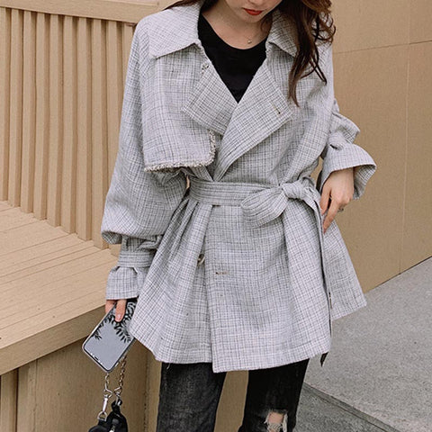 Turn down collar plaid fitted mid long trench coats