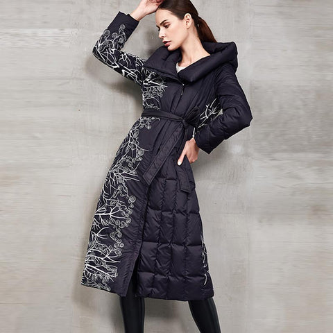 Print hooded belted down coats