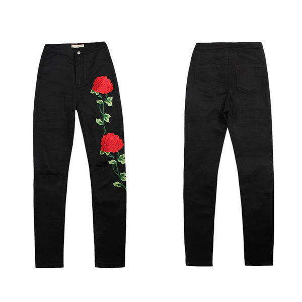 Embroidered openwork denim skinny pants