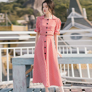 Red plaid a-line suit dresses - Fancyever