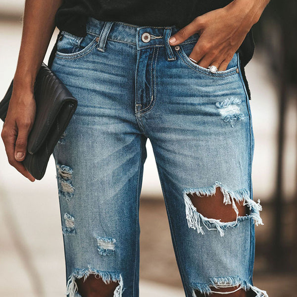 Plus size retro ripped jean pants