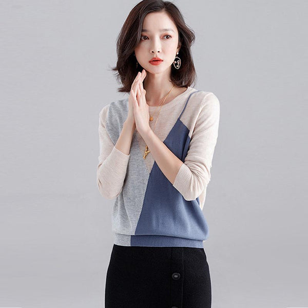 Crew neck patchwork pullover sweaters - Fancyever