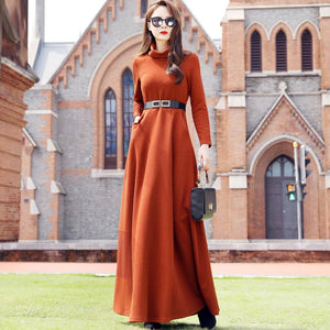 Turtleneck maxi dresses with pockets
