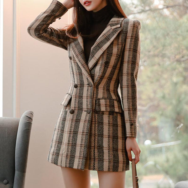 Vintage plaid lapel double breast coats
