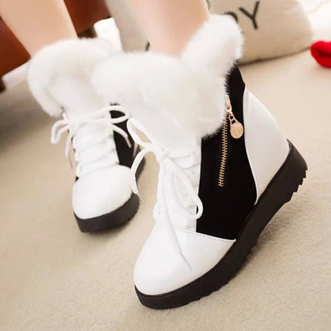 Rounded color-blocked PU leather fur winter boots