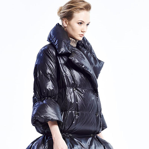 Wide lapel high shine down coats