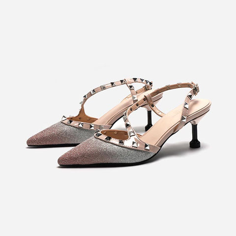 Pointed toe rivet patchwork sandals