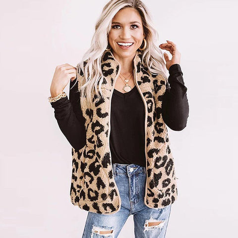 Mock neck animal zip up vests
