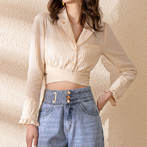 Apricot button front wrap crop tops