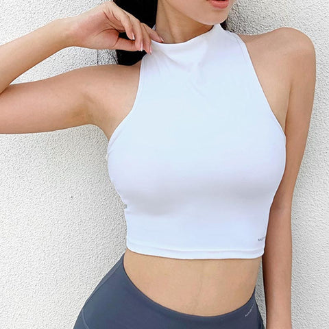 Mock neck sleeveless quick-drying yoga tops
