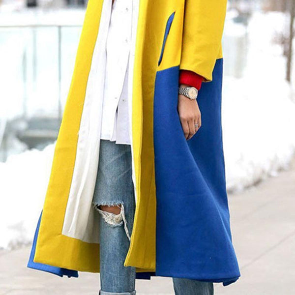 Lapel color block long coats