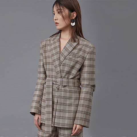 Striped wrap check blazers - Fancyever