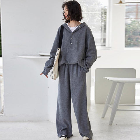 Hooded pullover loose casual pant suits