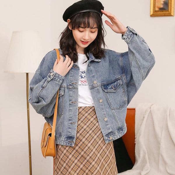Bat sleeve lapel loose denim jackets