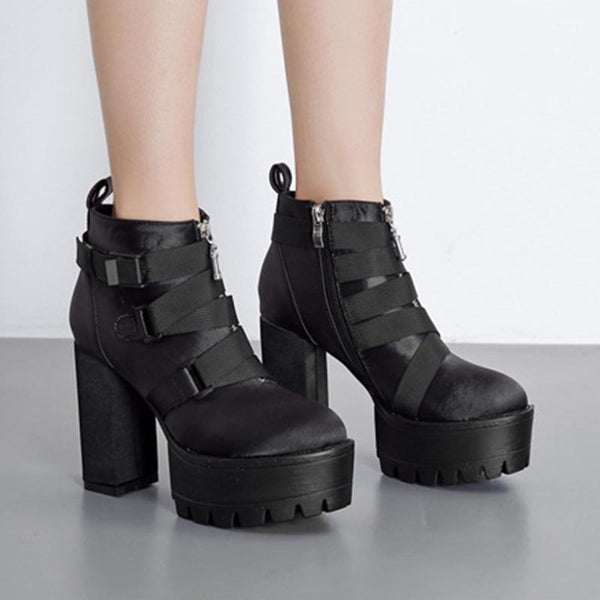 Chunky heel platform ankle boots