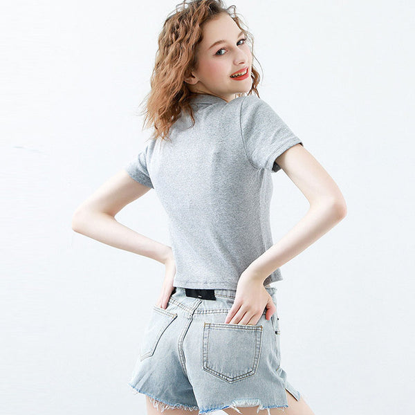 Turn-down collar single-breasted slim crop tops
