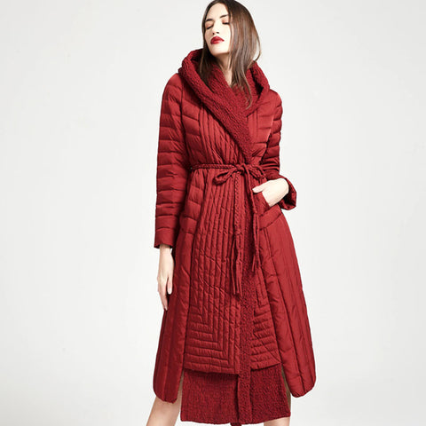 Asymmetric patchwork hooded belted down coats